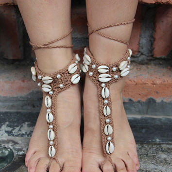 Handmade Knitted  Natural Shell Anklet Summer Women Foot Jewelry Bohemian Barefoot