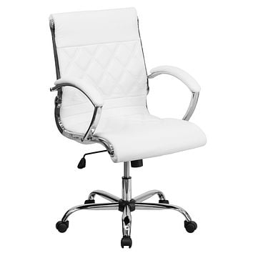 Mid-Back Designer Leather Executive Swivel Office Chair with Chrome Base
