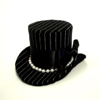 Mini Top Hat, Gangster, Costume, Pinstripe, Black and White, Burlesque, 1920's, Cosplay, Drag Queen, Pin Up, Pearls,Fascinator,Headpiece