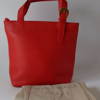 NINA RICCI Red Leather Small Tote Bag. Italian Designer Purse with dust bag.