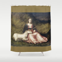 Woman with Unicorn Shower Curtain by anipani