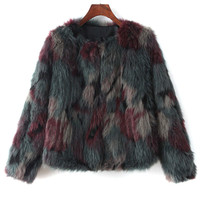 Multicolor Long Sleeve Faux Fur Coat