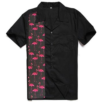 Cotton 50's Inspired Button Up Flamingo Print Bowling Shirt