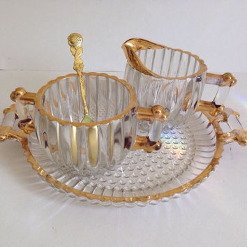 Vintage Jeannette Glass Sugar and Creamer-National-Gold Accents-Matching Handled Tray-Crystal-Clear Ribbed-Discontinued-Replacement