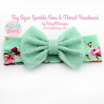 Baby Girl Big Messy Bow Headband Aqua Top Knot Headband. Baby Floral Soft Cotton Headband. Toddler Girl Turban. Baby Shower Gift. Hair Bow