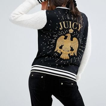 Juicy Couture Varsity Jacket With Eagle at asos.com