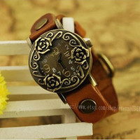 Leather strap watch restoring ancient ways, girls button decoration watches, the rose flower female table