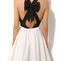 Cut-Out Bow Embellished Back Skater Dress