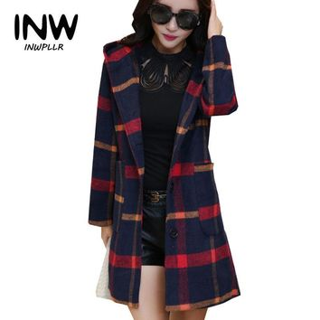 Trendy 2019 Autumn Winter Women Coat Chaquetas Mujer Hooded Plaid Jackets Femme Single Breasted Woolen Coats Plus Size Women Jacket AT_94_13
