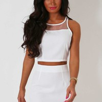 Minetta White Mesh Detail Two Piece Set | Pink Boutique