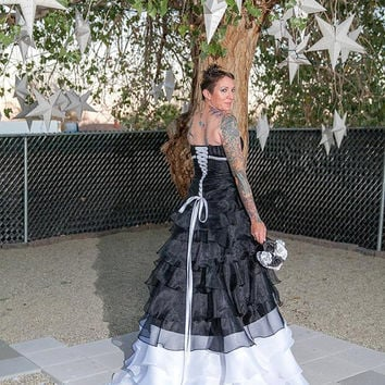 Black and White Wedding Dress Converts to Short Reception Dress