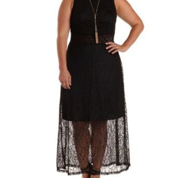 Plus Size Black Crochet & Lace Maxi Dress by Charlotte Russe