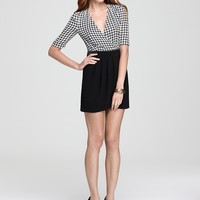 VINCE CAMUTO Short Sleeve Mixed Media Houndstooth Wrap Dress | Bloomingdale's