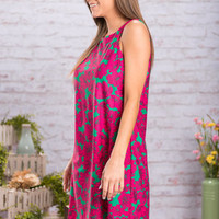 May Flowers Dress, Magenta