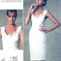 DKNY cocktail dress Donna Karan Designer Modern fashion evening wear wedding party sewing pattern Vogue 1218 Sz 12 to 18 UNCUT