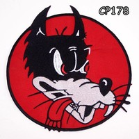 WOLF HEAD BLACK ON RED Iron on Center Patch for Biker Vest CP178