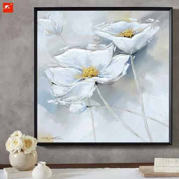 2 Pcs White Flower Wall Picture  Handmade Hand painted Oil Painting On Canvas  For  Living Room Hanging
