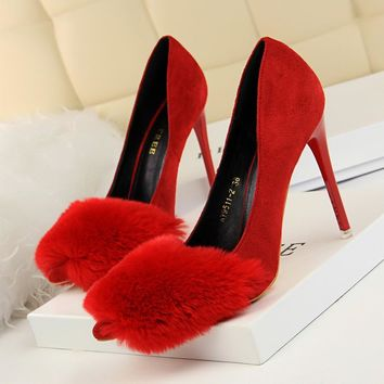 Faux Fur Decoration Suede Stiletto Heel Pointed Toe High Heels Party Shoes