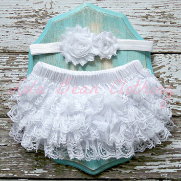 READY TO SHIP Baby Girl Bloomers Ruffle Diaper Cover White Lace Headband Set Newborn Photography Prop 6 9 12 18 months Christening Baptism
