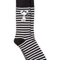 Striped Snoopy Socks Black/White One
