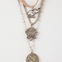 Full Tilt 3 Piece Suede Elephant/Lotus/Tree Layered Necklaces Antique Gold One Size For Women 26460162301