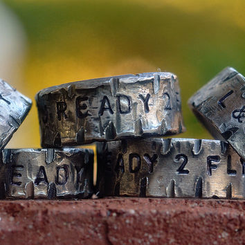 Custom Engraved Sterling Silver Family Ring Set, Personalized Silver Message Rings, Thick Sturdy Band, 3/8'