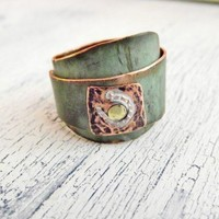 Rustic Wide Band Copper Ring Overlapped style Horseshoe Stamped