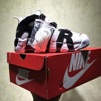 Best Online Sale Nike Air More Uptempo Qs Retro Sport Baskerball Black White Sneaker 414962-105