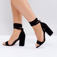 ASOS HOWLING Wide Fit Tie Leg Heeled Sandals at asos.com