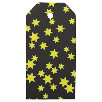 Yellow Stars Wooden Gift Tags