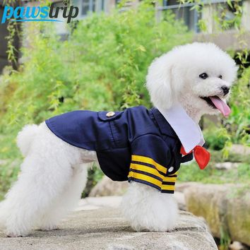 Bow Tie Navy Dog Suit Costume England Puppy Jacket Coats with Buttons
