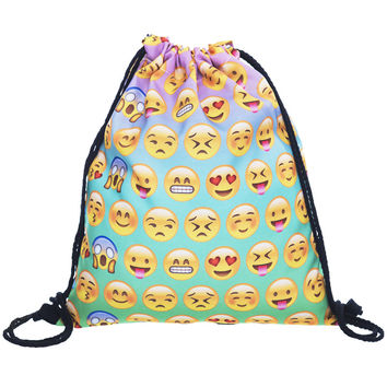 Cute Emoji Flodable Shopping Bag Backpack Sports Bag For Storaging Clothes Bags For Cosmetics Home Hanging Handbag Organizer