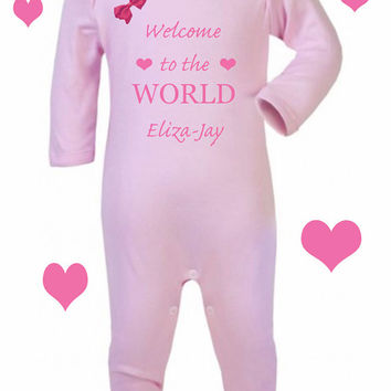Welcome to the world  x 1 rompersuit  100% cotton 0-3m 3-6m 6-12m SPECIAL ORDER