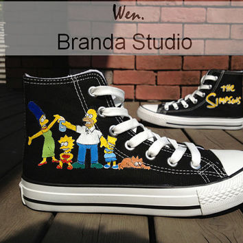 Family-The Simpsons,Studio High Top Hand Painted Shoes 49.99Usd,Paint On Custom Converse Shoes Only 89Usd,Buy One Get One Phone Case Free