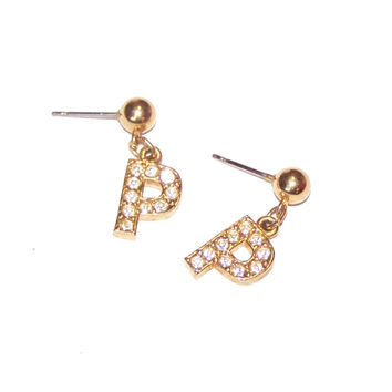 P Earrings, Avon Initial Earrings / Letter P /  Small Little Rhinestone Dangle