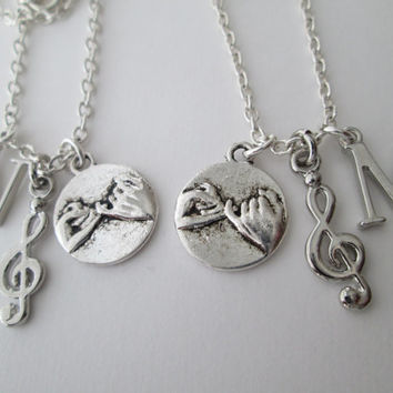 2 Music Note and Pinky Promise, Initial BFF Necklaces