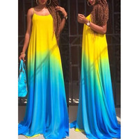 Spaghetti Strap Sleeveless Ombre Maxi Dress