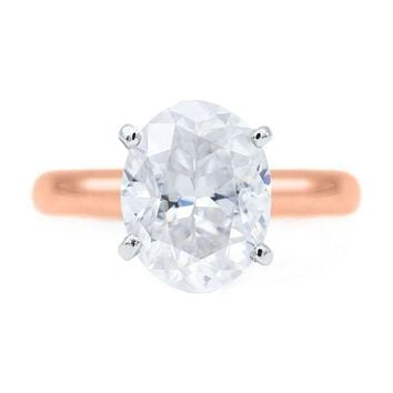 Oval First Crush FAB Moissanite 4 Prongs FANCY Solitaire Ring