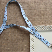 Fabric Lanyard ID -  Happy Feet Penguins & Snowflakes