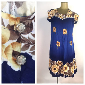 Vintage Hawaiian Dress SALE, Royal Blue Ombre Dress, Gold Flowers, Brass Buttons, Cap Sleeve Sun Dress, Vintage 60s Hawaiian Floral Dress M