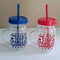 Star Spangled Hammered plastic mason jar tumbler cups | 4th of July cup