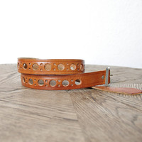 70s Cheese Leather Belt/ Caramel Brown Tooled Belt/ Boho Hippie Ethnic Chic