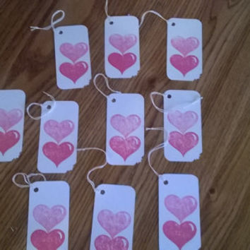 Pink & Red heart stamped Gift Tags Set of 10 Wedding Anniversary Wishing tree tags guest book alternative embossed hang tags bridal shower