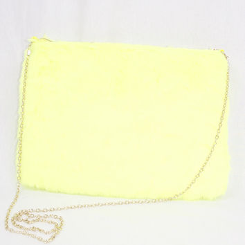 Faux Fur Purse - Neon Yellow