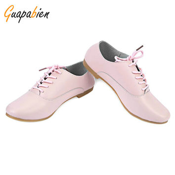 Guapabien Casual 2016 High Quality Leather Lace-up Shoes moccasins Shoes Women Black Oxford Flat Shoes Ballerina Flats Shoes