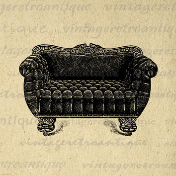 Printable Digital Antique Couch Download Vintage Furniture Image Graphic Clip Art for Transfers Printing etc HQ 300dpi No.1177