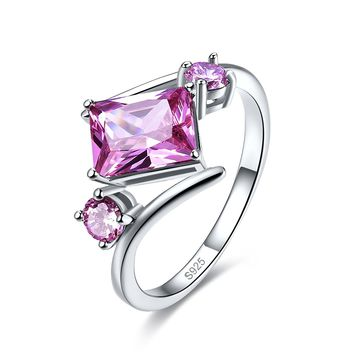 Merthus 1.2ct Pink Topaz Bypass Geometric Shaped Ring 925 Sterling Silver