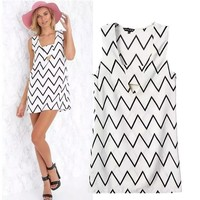 Stylish Hollow Out Stripes Print Women's Fashion One Piece Dress [6047595009]
