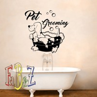Pet Grooming Wall Decal- Dog Wall Decals Grooming Salon Decor- Dog Grooming Wall Decal Animal Decals Pet Shop Decor- Dog Lover Gift Q296