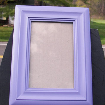 SPRING CLEANING SALE Up Cycled Upcycled Shabby Chic French Lilac Purple Frame Cottage Chic Table Top Wall Simple Bevels 4 x 6